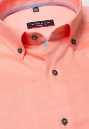ETERNA KURZARM HEMD MODERN FIT OXFORD ORANGE UNIFARBEN