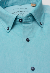 ETERNA LANGARM HEMD SLIM FIT UPCYCLING SHIRT OXFORD TÜRKIS UNIFARBEN