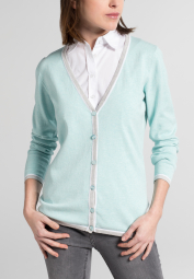 ETERNA STRICK CARDIGAN POWDER MINT UNIFARBEN