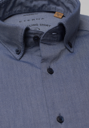 ETERNA LANGARM HEMD REGULAR FIT UPCYCLING SHIRT OXFORD JEANSBLAU UNIFARBEN