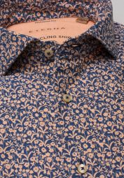 ETERNA LANGARM HEMD REGULAR FIT UPCYCLING SHIRT OXFORD APRICOT/BLAU BEDRUCKT