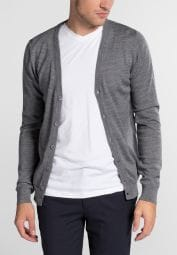 ETERNA STRICK CARDIGAN SLIM FIT ASCHGRAU UNIFARBEN