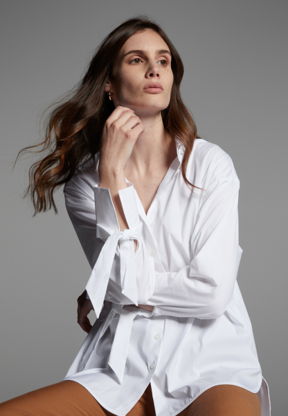 LANGARM BLUSE 1863 BY ETERNA - PREMIUM STRETCH WEISS UNIFARBEN