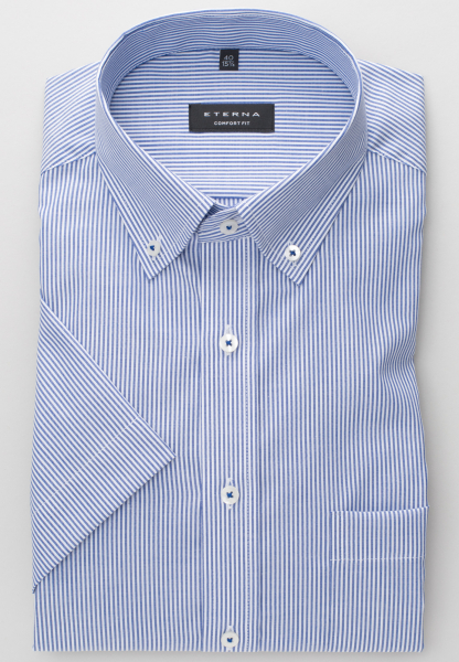 ETERNA KURZARM HEMD COMFORT FIT OXFORD BLAU/WEISS GESTREIFT