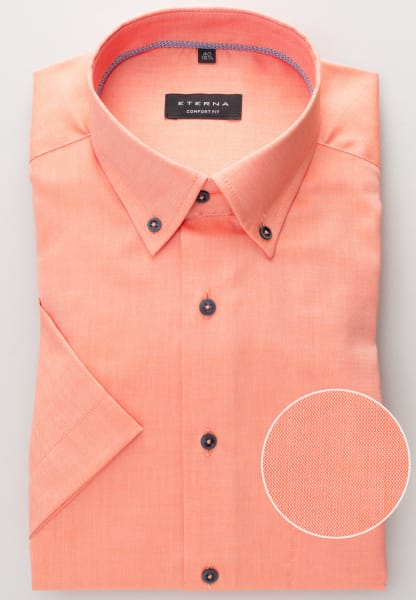 ETERNA KURZARM HEMD COMFORT FIT OXFORD ORANGE UNIFARBEN
