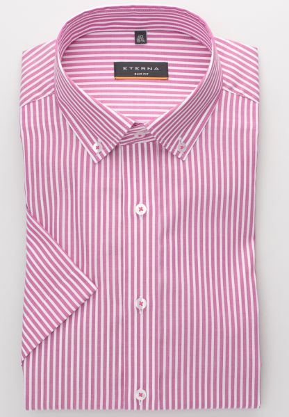 ETERNA KURZARM HEMD SLIM FIT OXFORD PINK/WEISS GESTREIFT