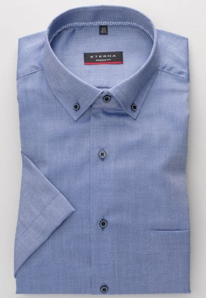 ETERNA KURZARM HEMD MODERN FIT OXFORD BLAU UNIFARBEN