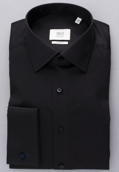 ETERNA LANGARM HEMD COMFORT FIT GENTLE SHIRT TWILL SCHWARZ UNIFARBEN