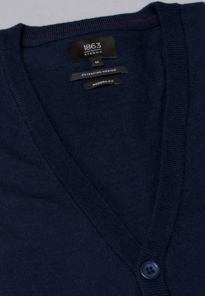 ETERNA STRICK CARDIGAN MODERN FIT  MARINE BLAU UNIFARBEN