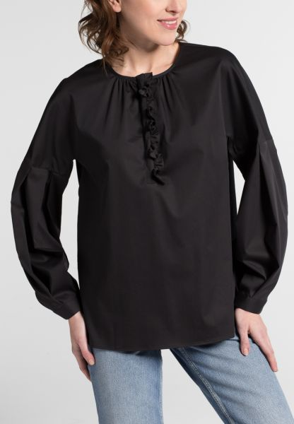 LANGARM BLUSE 1863 BY ETERNA - PREMIUM STRETCH SCHWARZ UNIFARBEN
