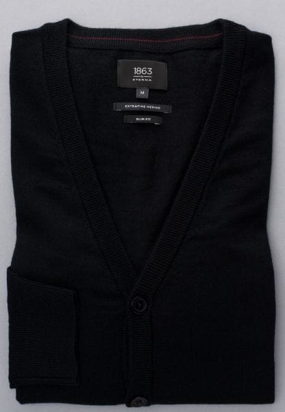 ETERNA STRICK CARDIGAN SLIM FIT  SCHWARZ UNIFARBEN