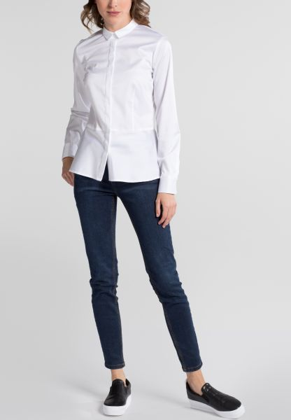 ETERNA LANGARM BLUSE SLIM FIT STRETCH WEISS UNIFARBEN
