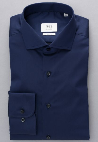 ETERNA LANGARM HEMD SLIM FIT GENTLE SHIRT TWILL MARINEBLAU UNIFARBEN